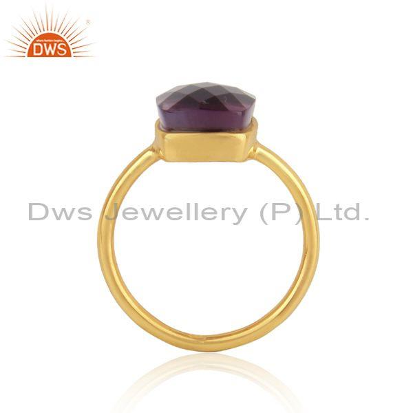 Yellow Gold on Silver Handmade Rings with Amethyst