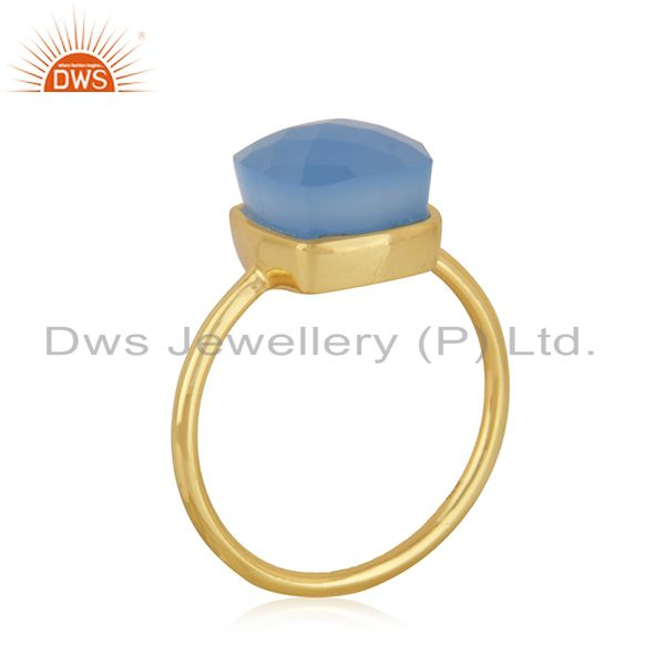 Blue Chalcedony Gemstone Gold Plated Handmade Sterling Silver Ring Jaipur