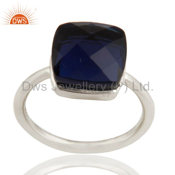 925 Sterling Silver Sapphire Blue Corundum Stacking Ring Size 5