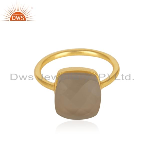 Crystal Quartz Gemstone 925 Silver Gold Plated Ring Manufacturer India