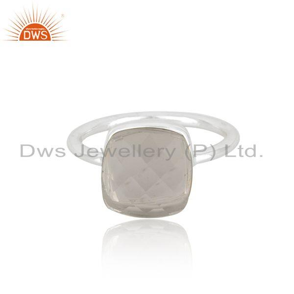 Crystal Quartz Sterling Handmade Fine Silver Ring Manufacturer in India