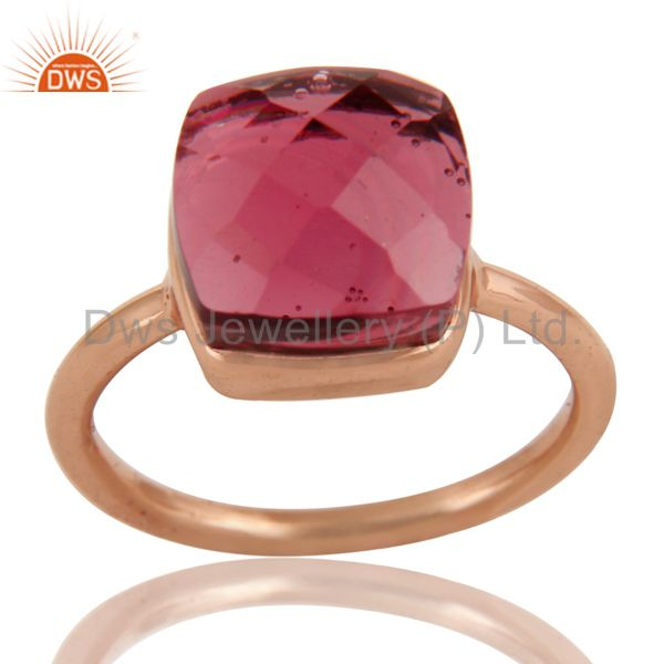 Pink Glass Sterling Silver Bezel Set Stack Ring - Rose Gold Plated