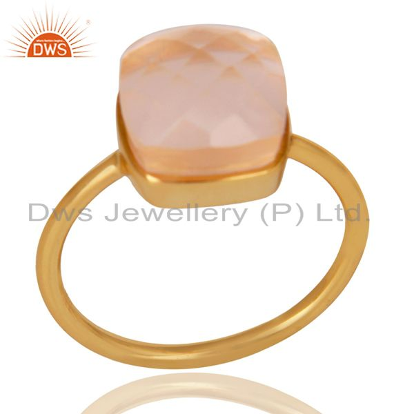 14K Yellow Gold Plated 925 Sterling Silver Handmade Rose Quartz Statement Ring