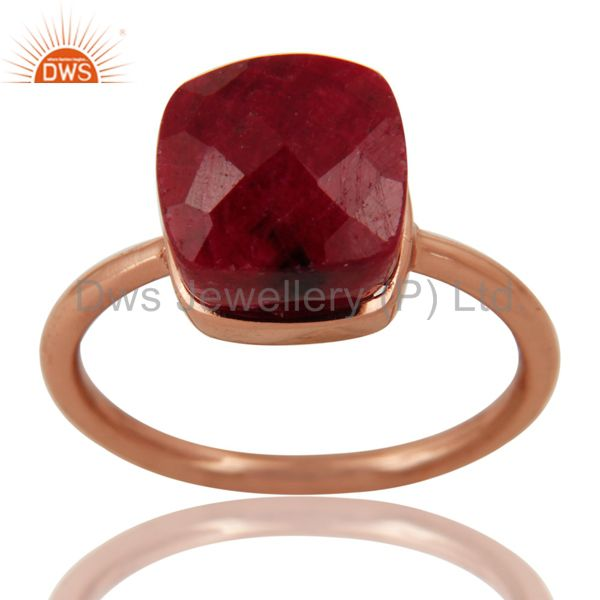 Faceted Ruby Corundum Bezel-Set Sterling Silver Ring - Rose Gold Plated