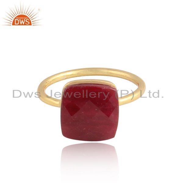 Corundum Ruby Gemstone Designer 18k Gold Plated Silver Rings
