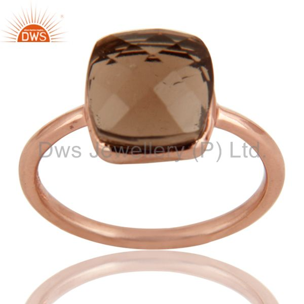 Natural Smoky Quartz Checker Broad Sterling Silver Bezel Ring - Rose Gold Plated
