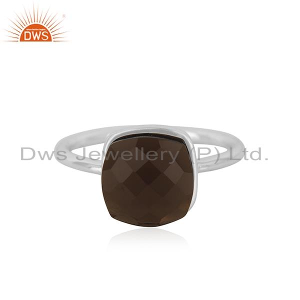 Smoky Quartz Gemstone Fine Sterling Silver Handmade Ring Manufacturers INdia