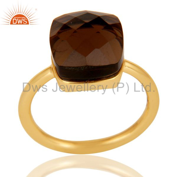22K Gold Plated 925 Sterling Silver Checkered Smokey Topaz Statement Ring