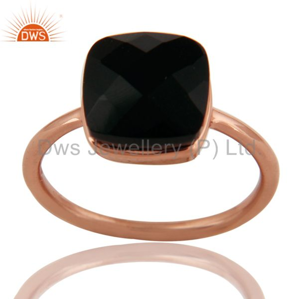 18K Rose Gold Plated Sterling Silver Checkered Broad Black Onyx Stack Ring