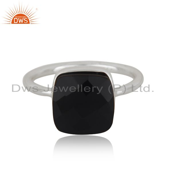 925 Sterling Silver Black Onyx Gemstone Stack Ring