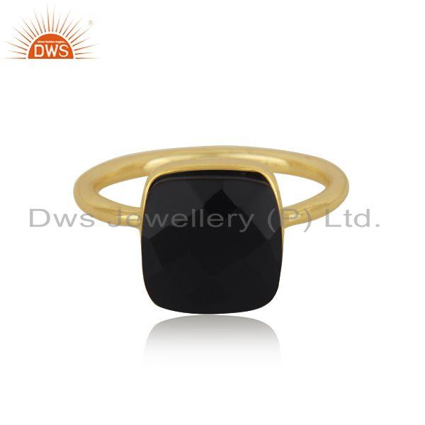 Black Onyx Gemstone Gold Plated 925 Silver Handmade Ring Manufacturer India