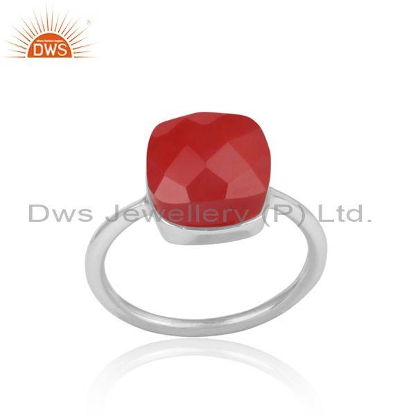Red Chalcedony Set 925 Fine Sterling Silver Handmade Ring