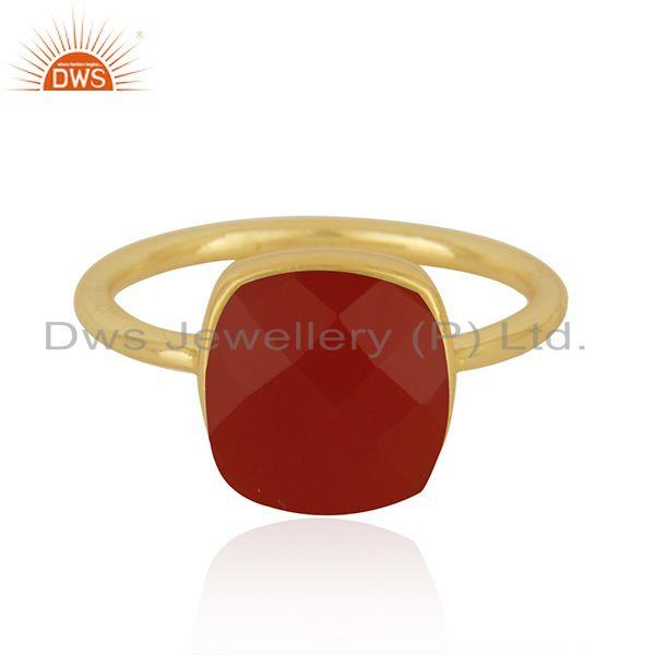 Red Onyx Gemstone Gold Plated 925 Silver Red Onyx Gemstone Ring Wholesale