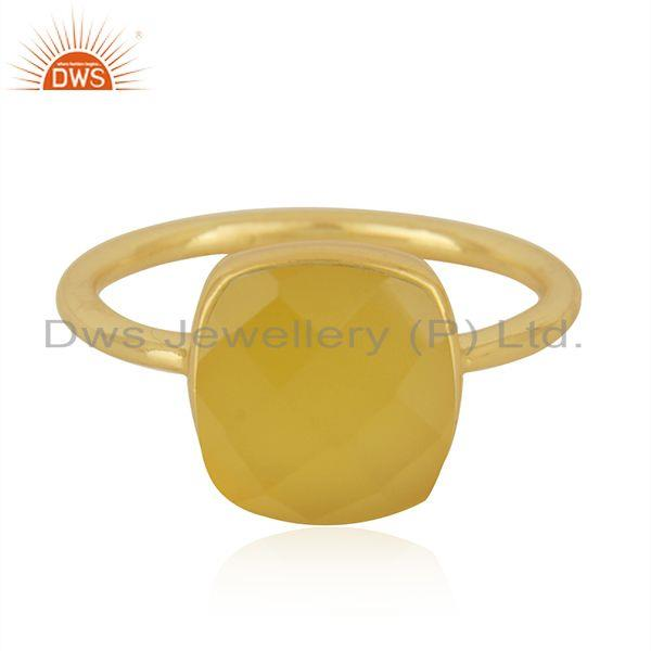 Yellow Chalcedony Gemstone Gold Plated 925 Silver Ring Manufacturer in India