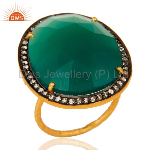Prong-Set Faceted Green Onyx And CZ Ring In 18K Gold Over Sterling Silver