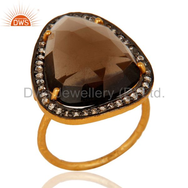 Natural Smoky Quartz Sterling Silver Prong Set Ring With CZ - Gold Plated