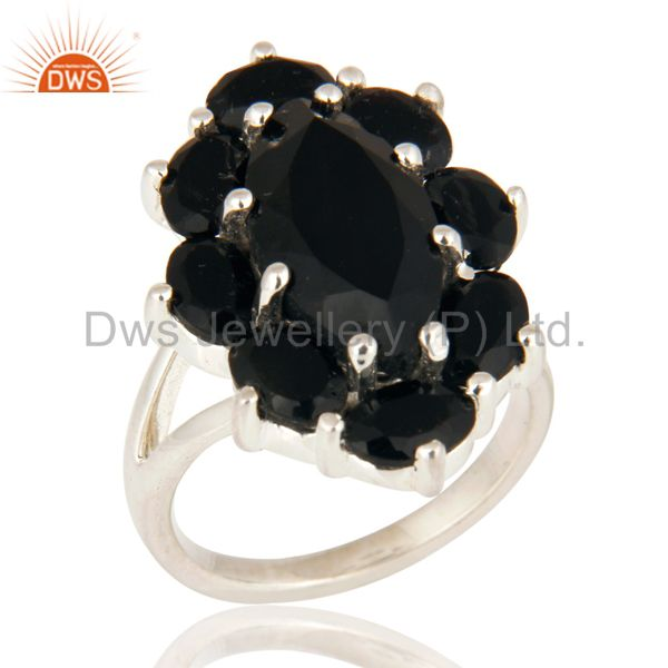 Solid 925 Sterling Silver Black Onyx Designer Ring - Fine Gemstone Jewelry