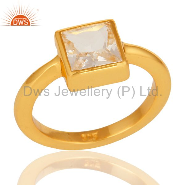 Square Princess Cut Crystal Quartz 14K Yellow Gold Plated Sterling Silver Ring