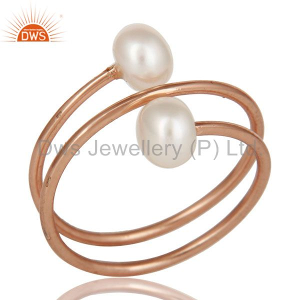 18K Rose Gold Plated Sterling Silver Pearl Wire Wrapped Adjustable Ring