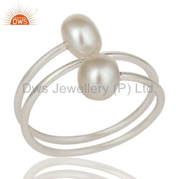 Wire Designer 925 Sterling Silver Pearl Wrapped Adjustable Ring