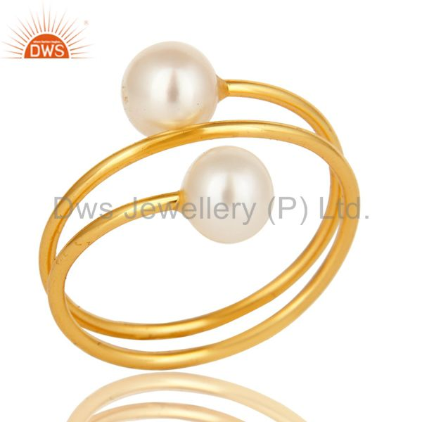 14K Yellow Gold Plated Sterling Silver Natural White Pearl Wire Adjustable Ring