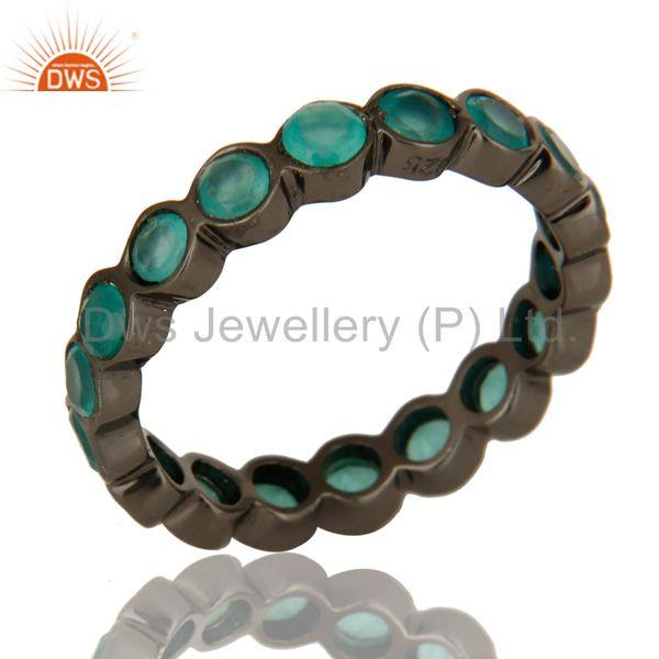 Black Rhodium Plated Sterling Silver Dyed Aqua Chalcedony Round Eternity Ring
