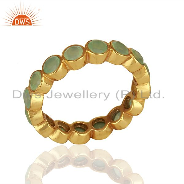 Designer Aqua Chalcedony Gemstone Gold Plated 925 Silver Band Ring