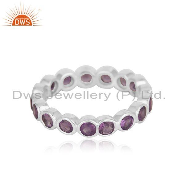 Natural Amethyst Gemstone Fine Sterling Silver Band Ring Wholesaler