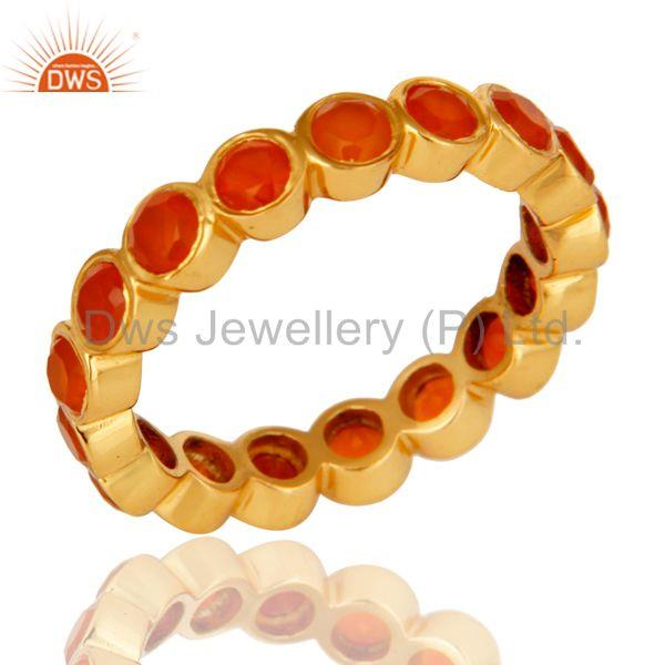 18K Gold Plated Sterling Silver Carnelian Ring Gemstone Band