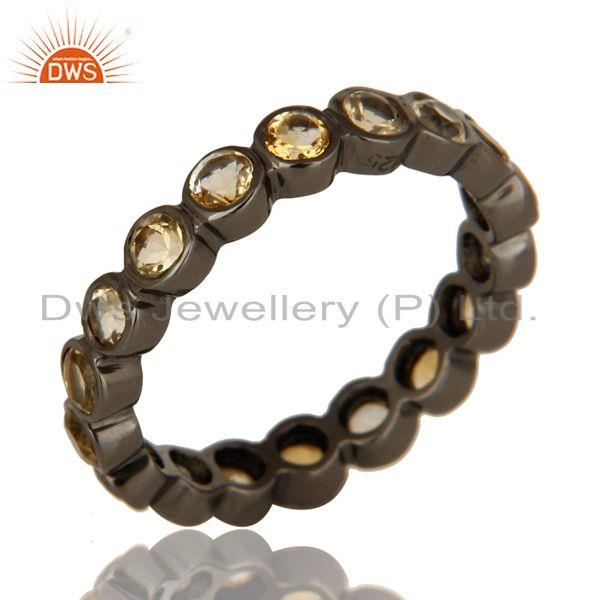 Natural Citrine Gemstone Sterling Silver Eternity Ring With Black Rhodium Plated