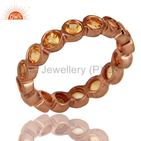 18K Rose Plated Sterling Silver Natural Citrine Gemstone Eternity Ring