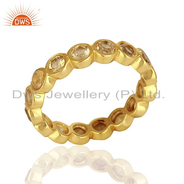 18K Gold Plated Sterling Silver Citrine Gemstone Halo Stackable Ring