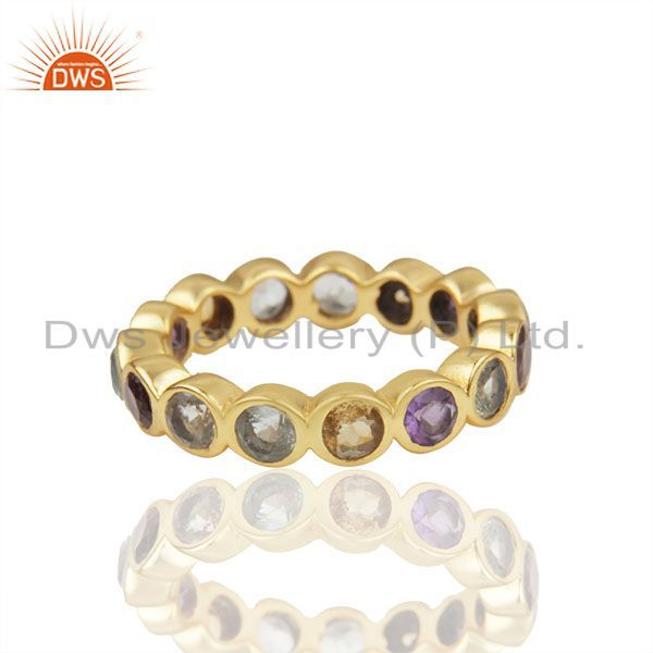 Natural Multi Gemstone Solid 925 Silver Gold Plated Wedding Band Rings