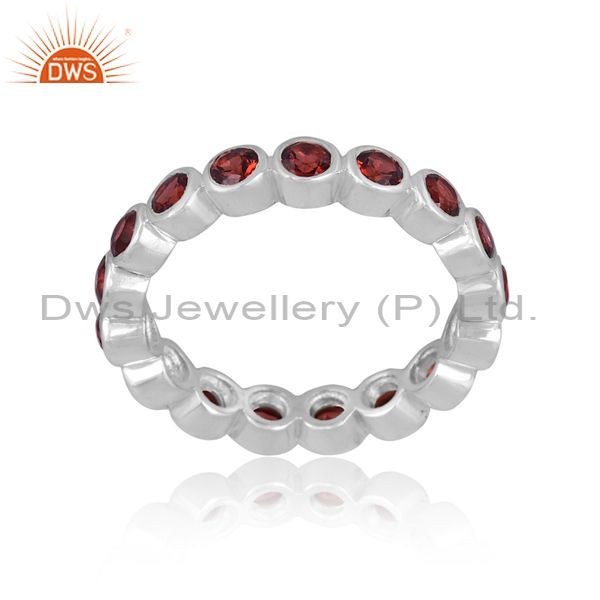 Natural Red Garnet Sterling Silver Eternity Band Ring