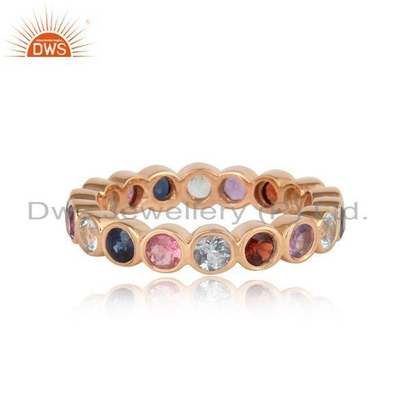 Designer eternity ring in natural gemstones in rose gold on silver