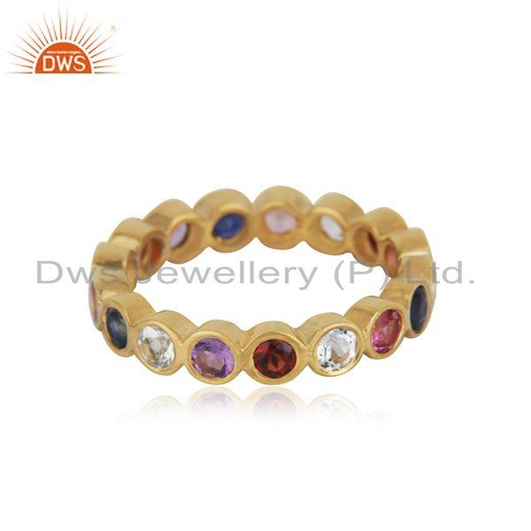 Multi Color Stone Yellow Gold Plated Silver Band Ring Jewelry