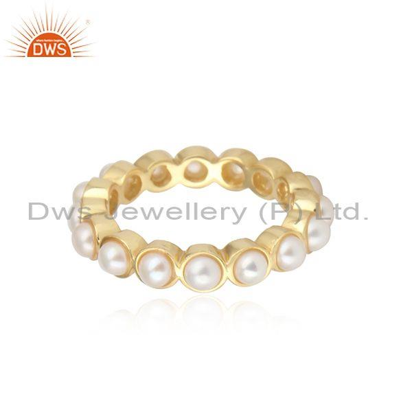 Handmade solid 925 sterling silver pearl eternity band