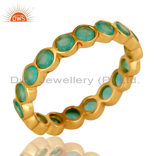 14K Yellow Gold Plated Sterling Silver Aqua Green Chalcedony Round Eternity Ring