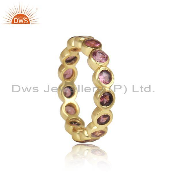 Pink Tourmaline Set Gold Plated Designer Band Silver Ring