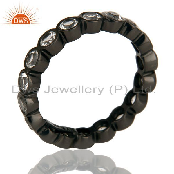 Black Oxidized 925 Sterling Silver White Topaz Round Eternity Band Ring