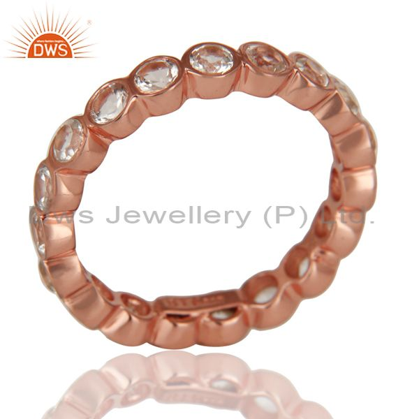 14K Rose Gold Plated 925 Sterling Silver White Topaz Round Eternity Ring