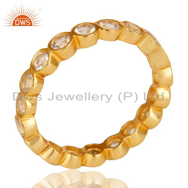 14K Yellow Gold Plated 925 Sterling Silver White Topaz Round Eternity Ring
