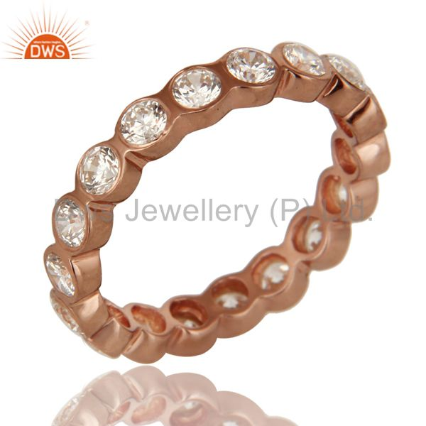 3mm Round Cut Cubic Zirconia 18K Rose Gold Plated Sterling Silver Eternity Ring