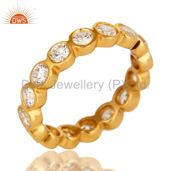 14K Yellow Gold Plated Sterling Silver Round Cut Cubic Zirconia Eternity Ring