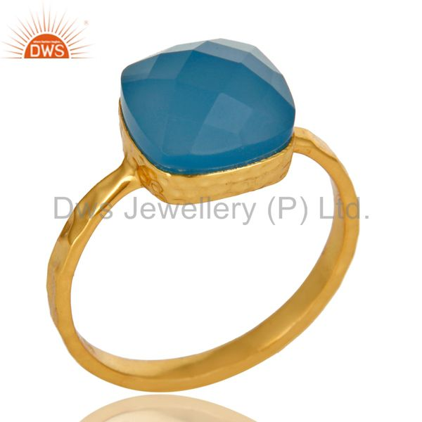 14K Yellow Gold Plated Sterling Silver Blue Chalcedony Gemstone Bezel Set Ring