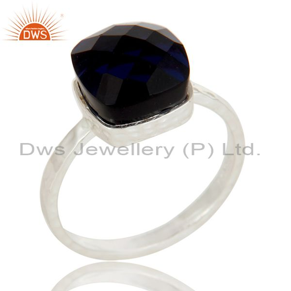 Handmade Solid Sterling Silver Blue Corundum Gemstone Bezel Set Ring