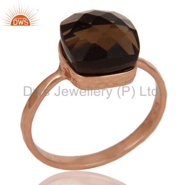 18K Rose Gold Plated Sterling Silver Smoky Quartz Gemstone Bezel Set Ring