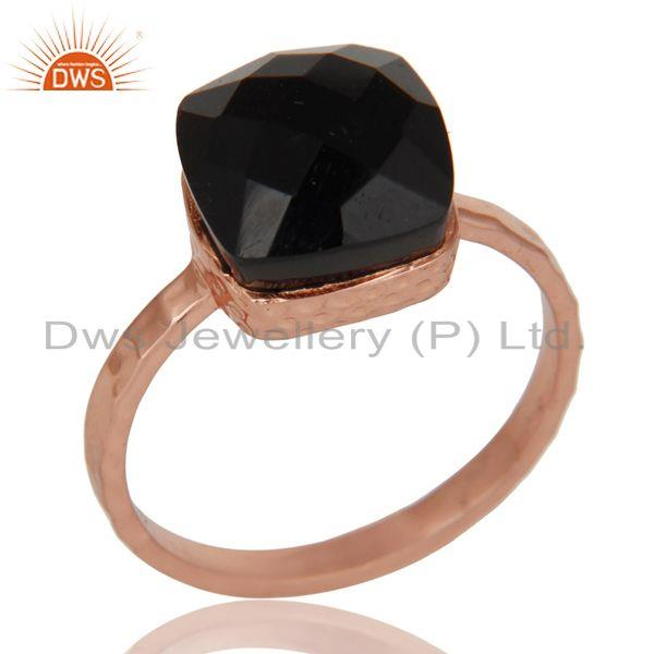 18K Rose Gold Plated Sterling Silver Black Onyx Gemstone Hammered Band Ring