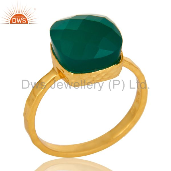 22K Yellow Gold Plated Sterling Silver Green Onyx Bezel Set Hammered Band Ring