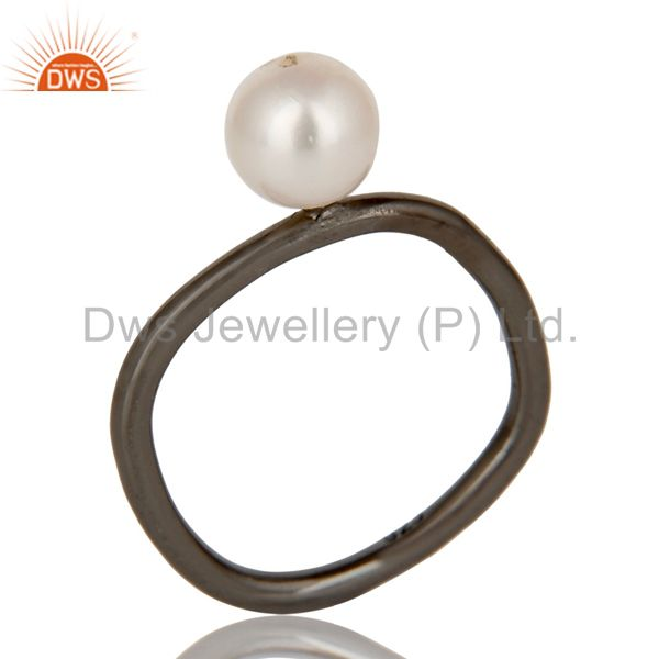 925 Sterling Silver With Oxidized Natural White Pearl Stackable Ring